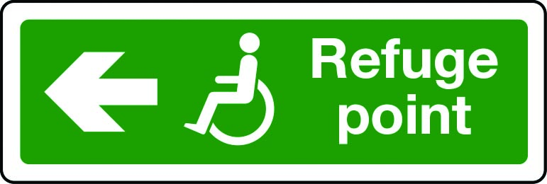 Disabled refuge point route arrow left sign