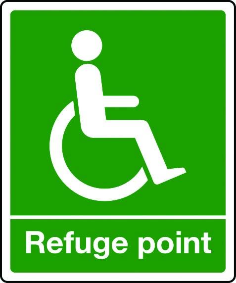 Disabled refuge point sign