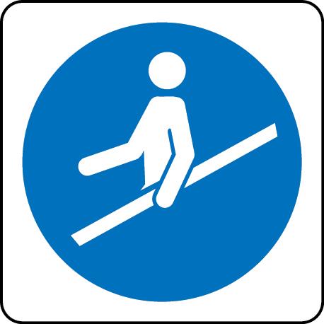 Hold Hand Rail escalator sign