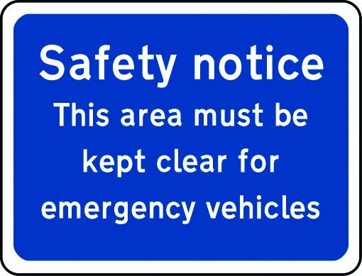 This area must be kept clear for emergency vehicles sign