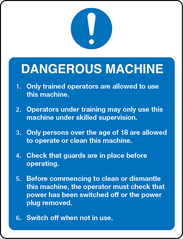 Dangerous catering machine regulations sign