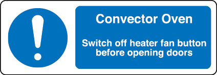 Convector oven information sign