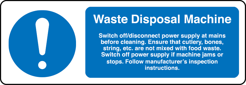 Waste disposal machine information sign