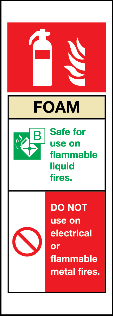Foam chemical fire extinguisher sign