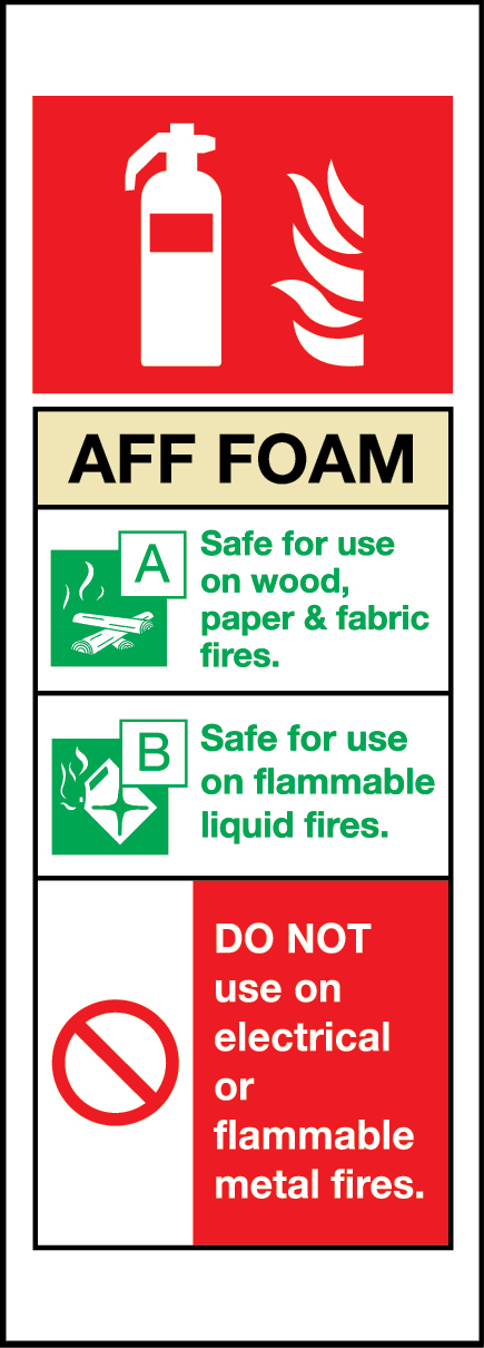 AFF foam fire extinguisher sign
