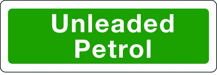 Unleaded petrol sign