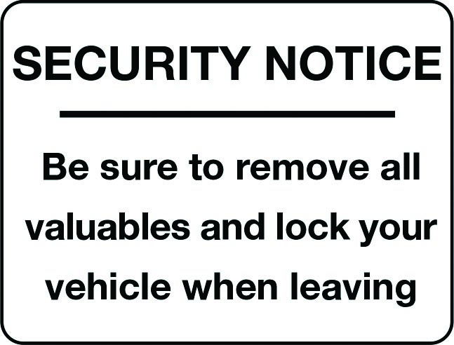 Be sure to remove all valuables security notice