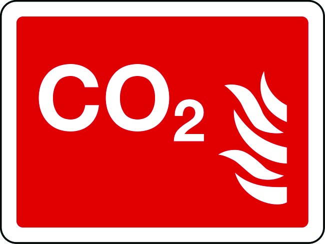 CO2 text and symbol sign