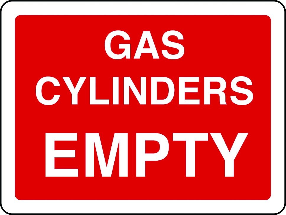 Gas cylinders empty sign