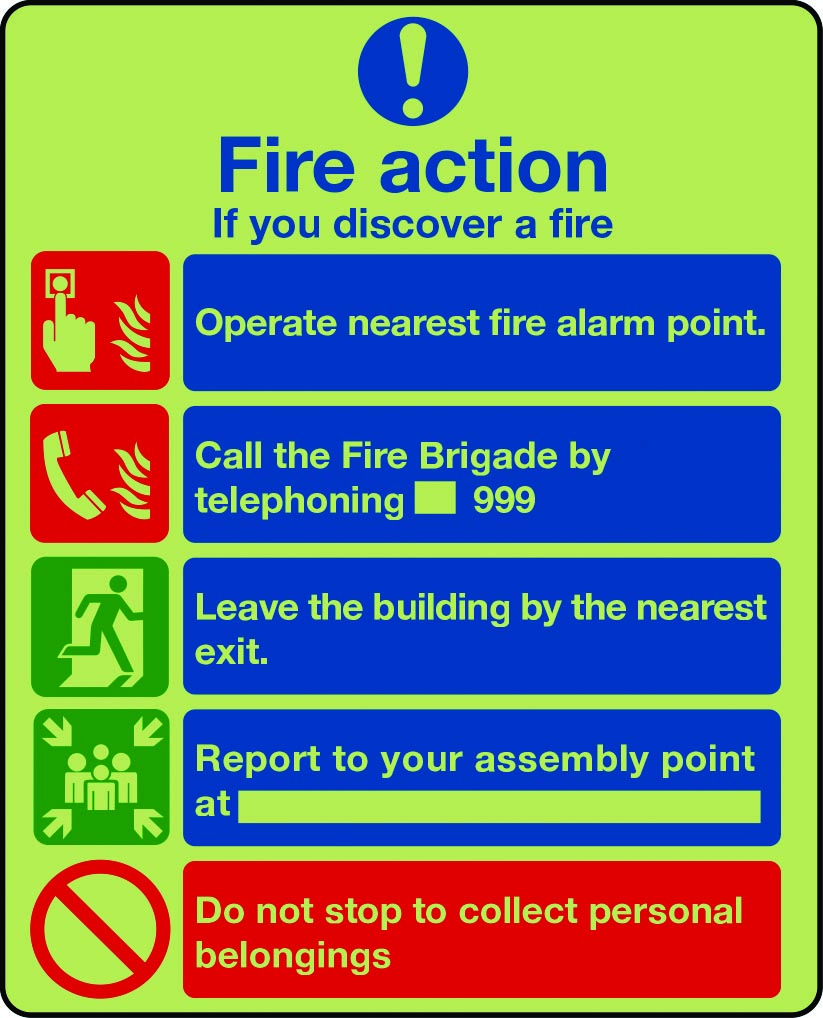 Photoluminescent fire action notice sign (building without lift)