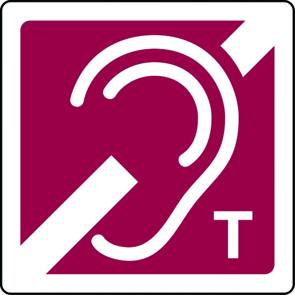 Hearing aid induction loop with T sign