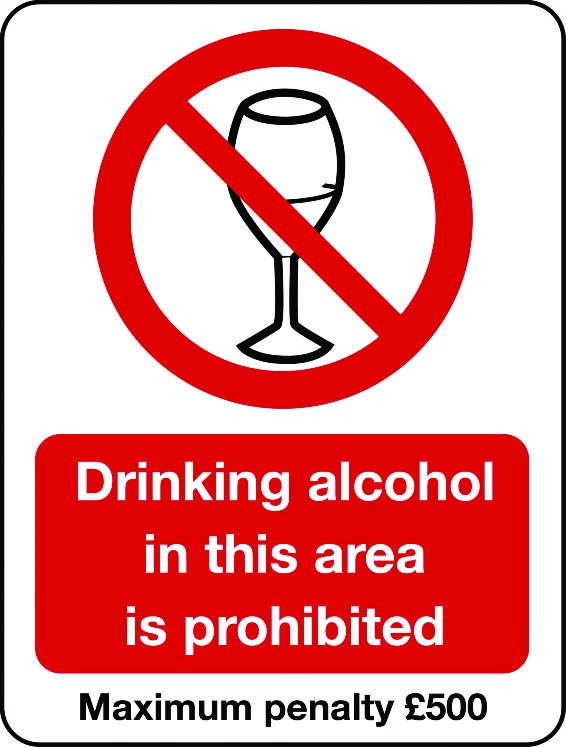 Drinking alcohol in this area is prohibited sign