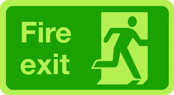 Fire exit sign (justified right) photoluminescent sign