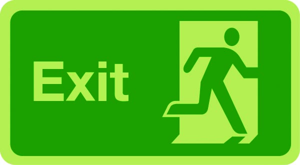 Exit sign (justified right) photoluminescent sign