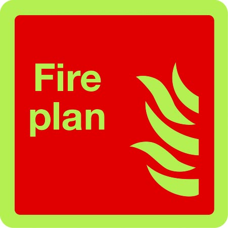 Photoluminescent fire plan sign