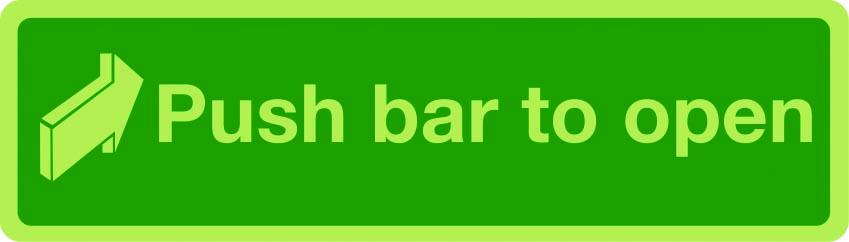 Push bar to open photoluminescent sign