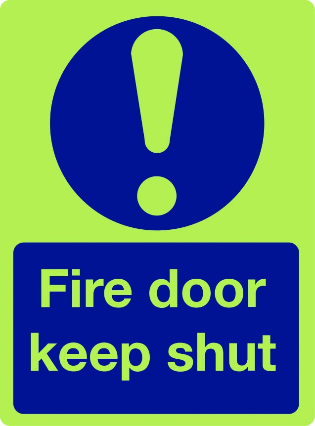 Fire door keep shut (with symbol) photoluminescent sign