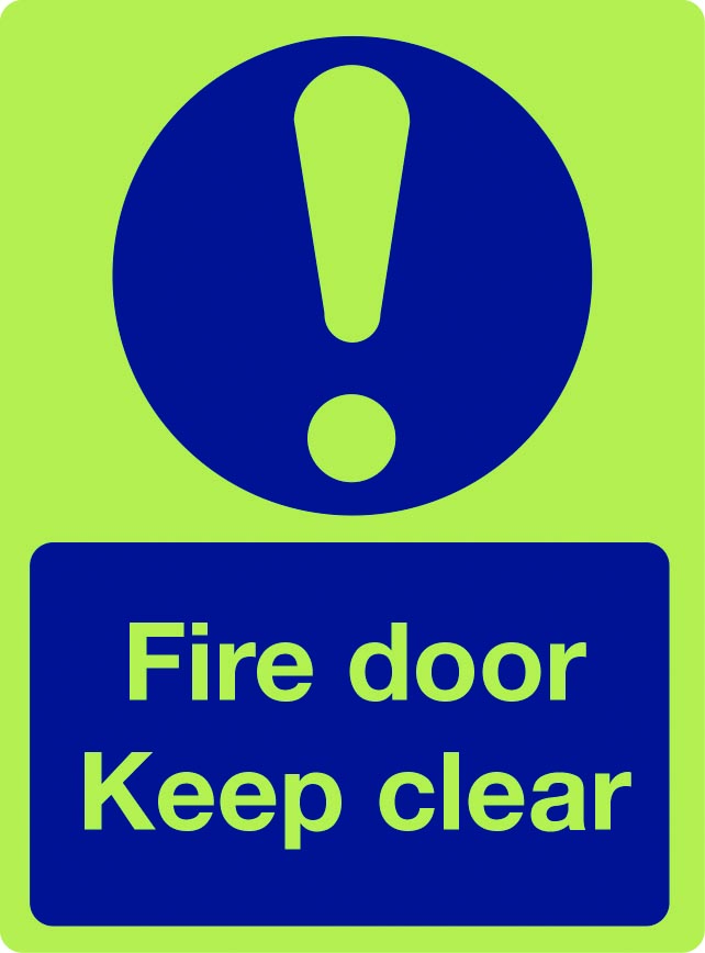 Fire door keep clear photoluminescent sign