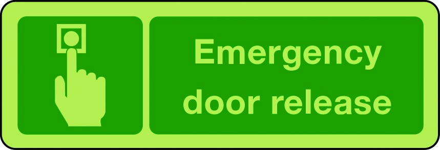 Emergency door release photoluminescent sign