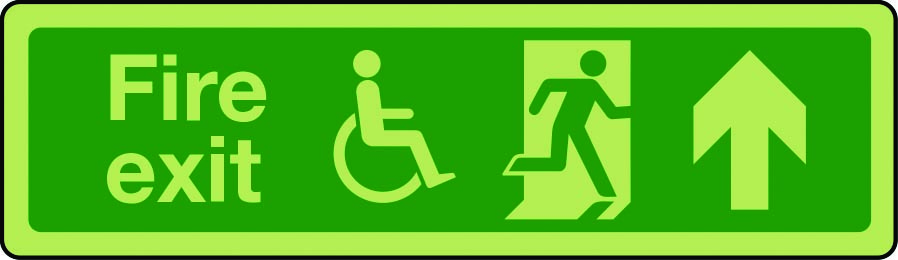 Photoluminescent physically impaired fire escape route sign arrow up