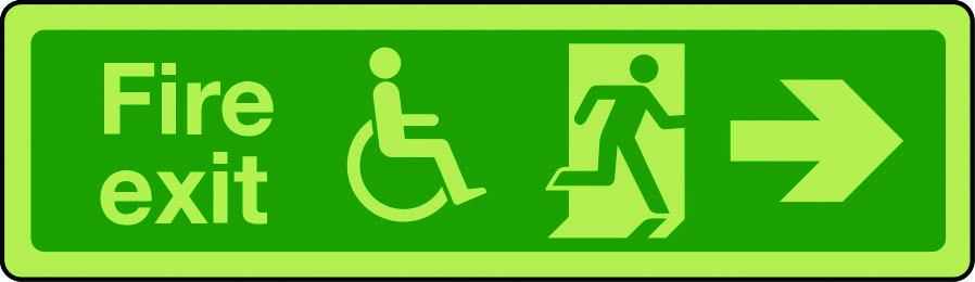 Photoluminescent physically impaired fire escape route sign arrow right
