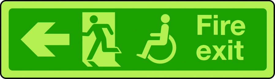 Photoluminescent physically impaired fire escape route sign arrow left