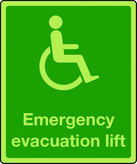 Photoluminescent emergency evacuation lift sign