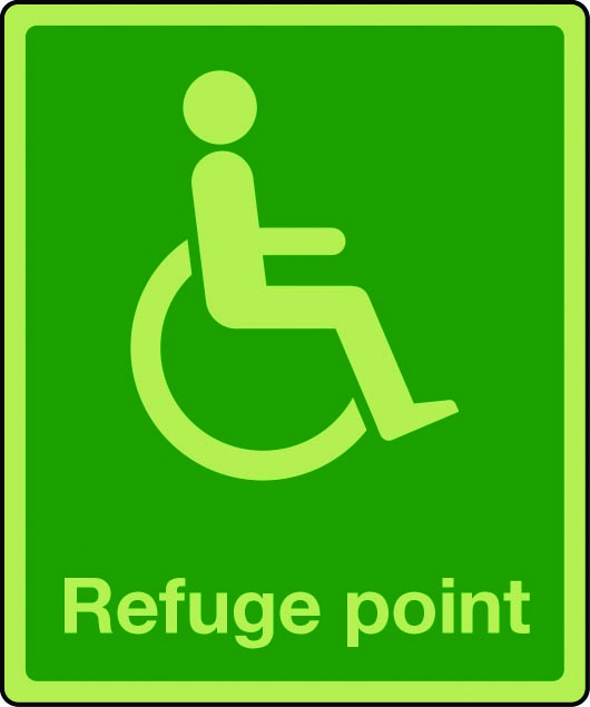 Photoluminescent physically impaired refuge sign