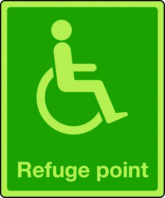 Photoluminescent physically impaired refuge sign