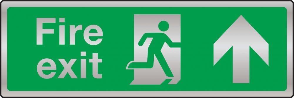 Prestige fire exit route sign (arrow up)