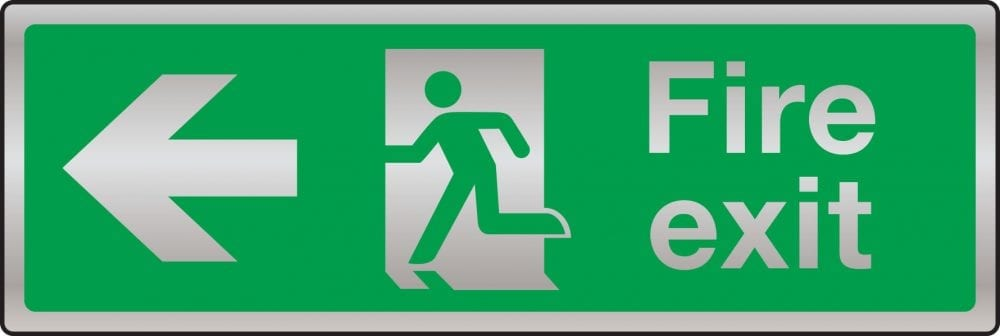 Prestige fire exit route sign (arrow left)