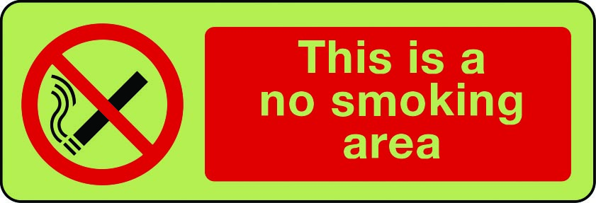 This is a no smoking area photoluminescent sign