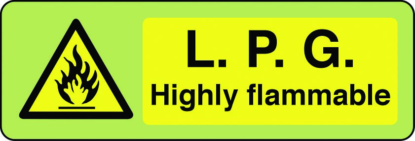 LPG highly flammable photoluminescent sign