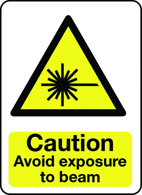 Caution avoid exposure to beam sign
