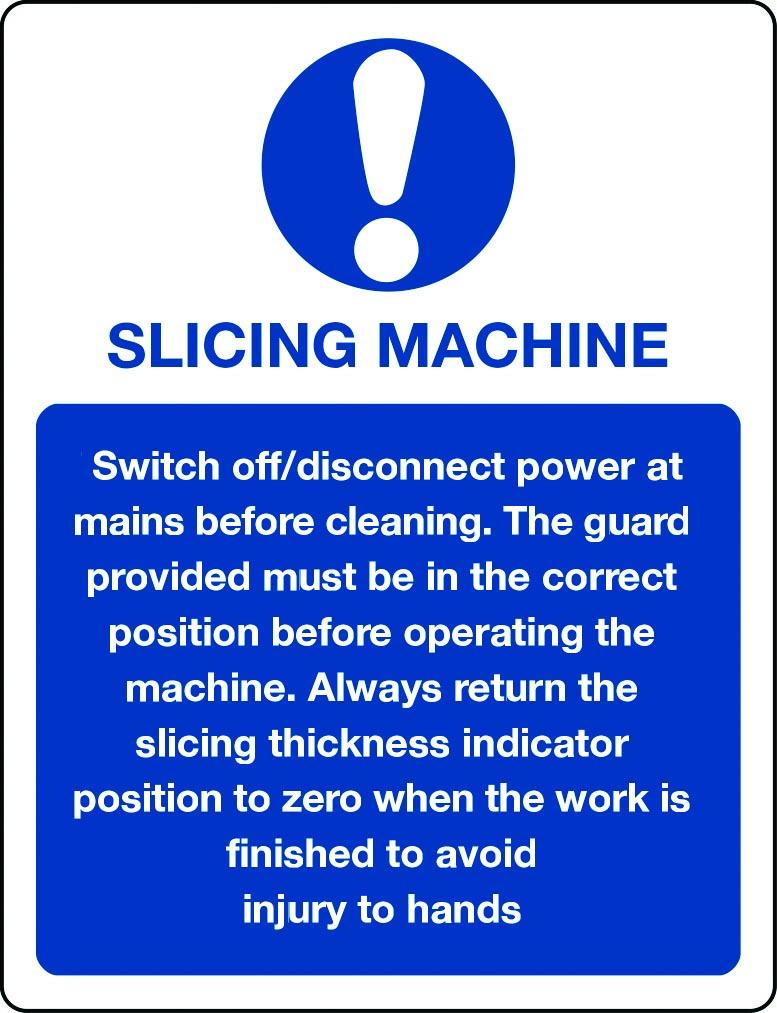 Slicing machine information sign