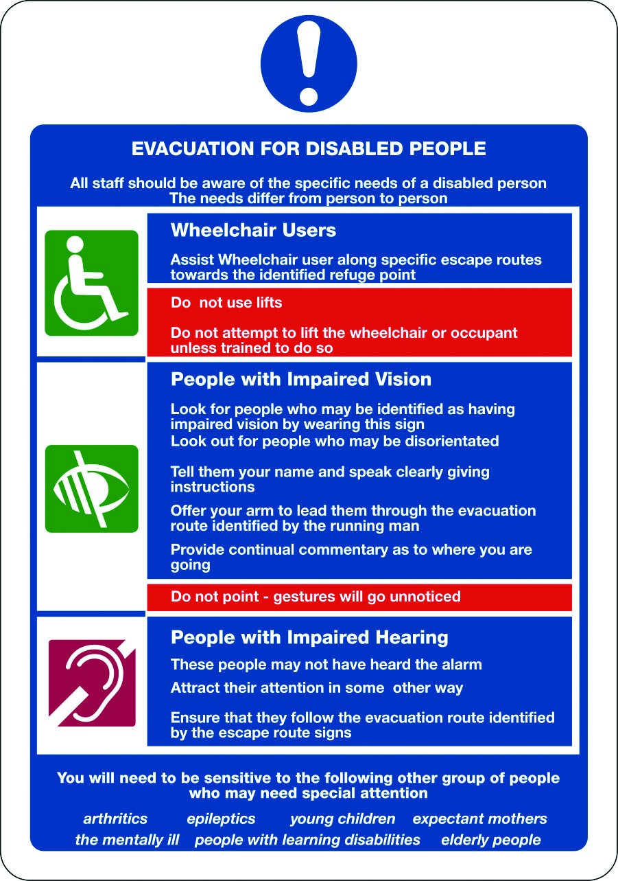 Evacuation notice for disabled people