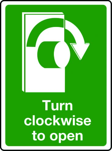 Turn clockwise to open sign
