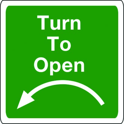 Turn to open sign