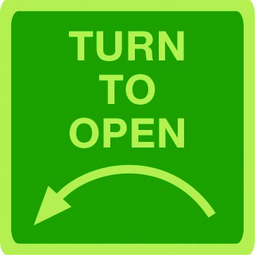 Turn anti-clockwise to open photoluminescent sign