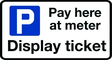 Pay here at meter parking sign