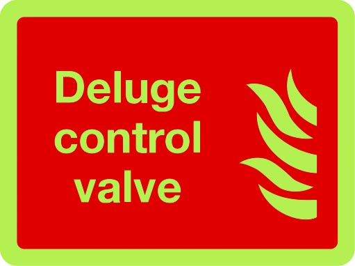 Deluge control valve photoluminescent sign