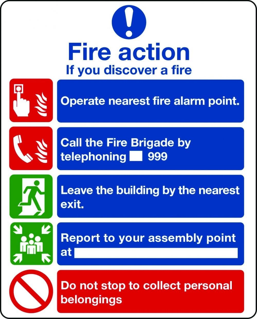 Fire action notice with graphic symbols from BS 5499 (without lifts) sign