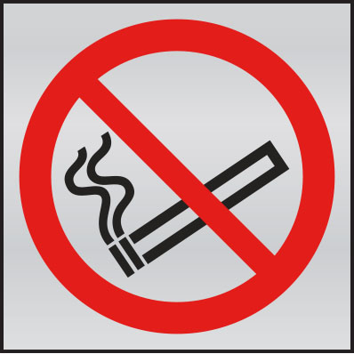 Prestige no smoking symbol anodised aluminium sign