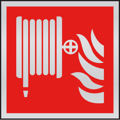 Fire hose symbol anodised aluminium sign