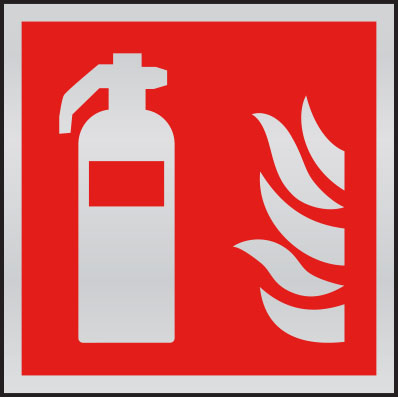 Fire extinguisher symbol anodised aluminium sign