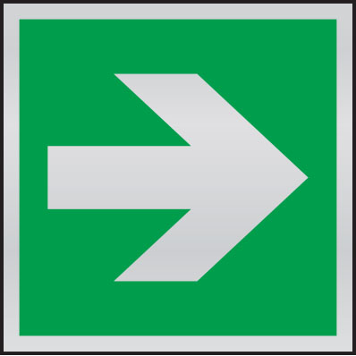 Directional fire arrow (supplementary sign) anodised aluminium