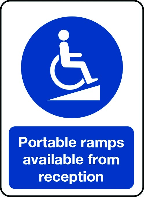 Portable ramps available from reception sign