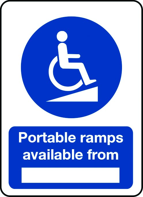 Portable ramps available from sign