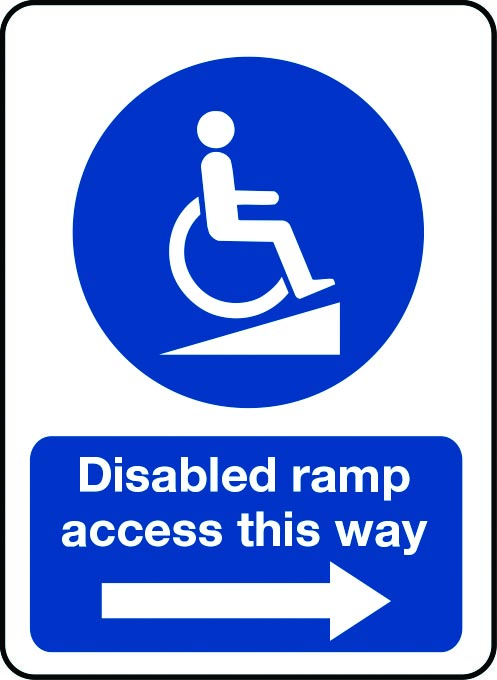 Disabled ramp access this way sign with arrow pointing right
