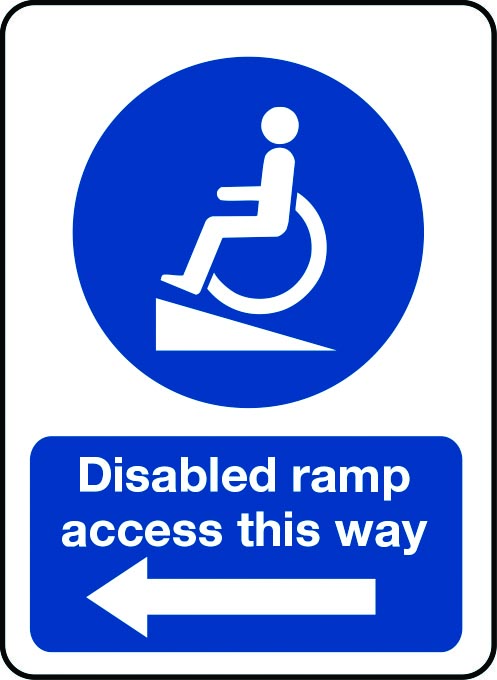 Disabled ramp access this way sign with arrow pointing left